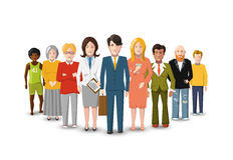 Międzynarodowa grupa ludzi, płaska ilustracja na bielu royalty ilustracja