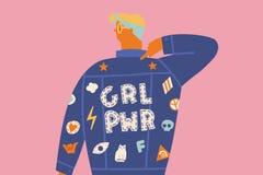 Międzynarodowa kobieta dnia karta z kobietami lub dziewczyną w cajg kurtce ilustracja wektor