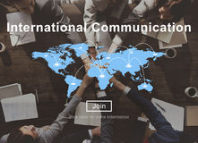Międzynarodowa Komunikacyjna Podłączeniowa networking strona internetowa Concep Obraz Stock