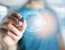 Międzynarodowa kuli ziemskiej komunikacja wystawiająca na futurystycznym inte Zdjęcie Royalty Free