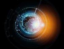 Międzynarodowa kuli ziemskiej komunikacja wystawiająca na futurystycznym inte Fotografia Royalty Free