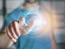Międzynarodowa kuli ziemskiej komunikacja wystawiająca na futurystycznym inte Fotografia Stock