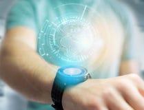 Międzynarodowa kuli ziemskiej komunikacja wystawiająca na futurystycznym inte Obraz Royalty Free