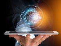 Międzynarodowa kuli ziemskiej komunikacja wystawiająca na futurystycznym inte Zdjęcie Stock