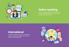 Międzynarodowa Ogólnospołeczna Medialna sieci połączenie z internetem komunikacja, Uczy Online sieci edukaci sztandar Zdjęcie Stock
