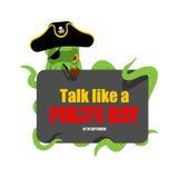 Międzynarodowa rozmowa Jak pirata dzień Ośmiornica pirat poulpe buc Obraz Stock