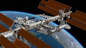 Międzynarodowa Stacja Kosmiczna ISS krąży nad ziemi atmosferą Stacja Kosmiczna Orbituje Earth 3D animacja zbiory