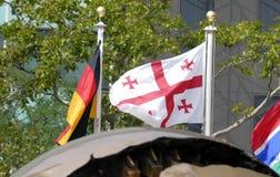 Międzynarodowe flaga w przodzie Narody Zjednoczone Lokują w Nowy Jork Obrazy Stock