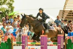 Międzynarodowe końskie skokowe rywalizacje, Rosja, Ekaterinburg, 28 07 2018 obrazy stock