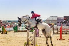 Międzynarodowe końskie skokowe rywalizacje, Rosja, Ekaterinburg, 28 07 2018 zdjęcia stock