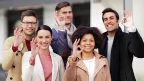 Międzynarodowego biznesu seansu ok ręki drużynowy znak zbiory wideo