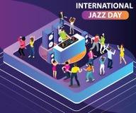 Międzynarodowego Jazzowego dnia grafiki Isometric pojęcie royalty ilustracja
