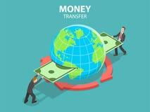 Międzynarodowego przelewu pieniędzy isometric płaski wektorowy pojęcie Ilustracja Wektor