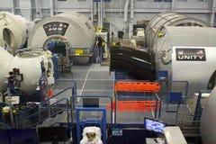 Międzynarodowej Staci Kosmicznej jedności Mockup przy NASA Johnson przestrzenią C obraz royalty free