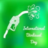 Międzynarodowy biodiesla dzień 10th Sierpniowa Refueling krócica, od której liście i kwitną płyną rysunkowy wręcza jej ranek biel Obrazy Stock