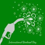 Międzynarodowy biodiesla dzień 10th Sierpniowa Refueling krócica, od której liście i kwitną płyną rysunkowy wręcza jej ranek biel Zdjęcia Royalty Free