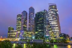 Międzynarodowy centrum biznesu Moskwa miasto przy zmierzchem, Rosja zdjęcie royalty free