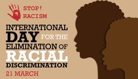 Międzynarodowy dzień dla eliminaci dyskryminacja rasowa ilustracja wektor