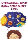 Międzynarodowy dzień istoty ludzkiej przestrzeń Zdjęcie Stock