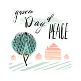 Międzynarodowy dzień pokojów Plakatowi szablony z zielonym abstrakcjonistycznym drzewem Zielenieją dzień, domy i ręcznie pisany l royalty ilustracja