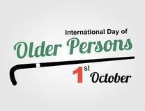 Międzynarodowy dzień stara osoba - Wektorowa ilustracja Zdjęcia Royalty Free