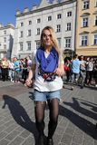 Międzynarodowy Flashmob dzień Rueda De Kasyno, 57 krajów, 160 miast Kilkaset persons tanczą Latynoskich rytmy na Mai Obrazy Royalty Free