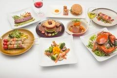 Międzynarodowy jedzenie dla gościa restauracji zdjęcie stock