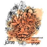 Międzynarodowy joga dzień na 21st Czerwu Obrazy Royalty Free