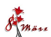 Międzynarodowy kobieta dzień na Marzec 8th. Data z listami z czerwonymi kwiatami fotografia royalty free