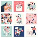 Międzynarodowy kobieta dzień Wektorowi szablony dla karty, plakata, ulotki i innych użytkowników, zdjęcie stock