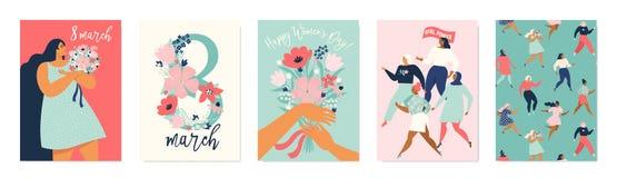 Międzynarodowy kobieta dzień Wektorowi szablony dla karty, plakata, ulotki i innych użytkowników, obraz stock