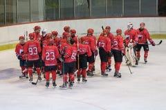 Międzynarodowy liga hokejowa IHL dopasowanie między HC Vojvoidna Novi Sad i HC Triglav Kranj obraz royalty free