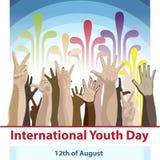 Międzynarodowy młodość dzień, 12 Sierpień, ręka Rysująca nakreślenie wektoru ilustracja royalty ilustracja