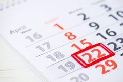 Międzynarodowy macierzysty ziemski dzień 22 Kwietnia ocena na kalendarzu, c Fotografia Royalty Free
