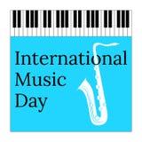 Międzynarodowy Muzyczny dzień 1 Październik Kulturalny wakacje Klawiaturowy pianino i saksofon ilustracji