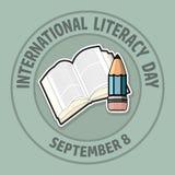 Międzynarodowy piśmienność dzień Wrzesień 8 ilustracja wektor