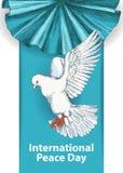 Międzynarodowy pokoju dzień Września 21st ręki rysunek pokój gołąbka Tło szablon dla plakata lub sztandaru projekta royalty ilustracja