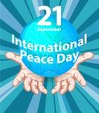 Międzynarodowy pokoju dzień Września 21st tła szablon dla plakata lub sztandaru projekta Pokojowa planety ziemia w istocie ludzki royalty ilustracja