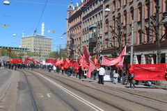 Międzynarodowy pracownika dzień w Gothenburg tłoczy się, Szwecja, ogólnospołeczni demokrata, polityczny zgromadzenie Fotografia Stock