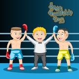 Międzynarodowy przyjaźń dzień dzieciaki Boksuje remis arbiter i dwa boksera, jesteśmy przyjaciółmi niebieski obraz nieba t?czow?  royalty ilustracja