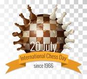 Międzynarodowy szachowy dzień świętuje dorocznie na Lipu 20, Szachowi kawałki lokalizuje royalty ilustracja