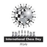 Międzynarodowy szachowy dzień świętuje dorocznie na Lipu 20, Szachowi kawałki lokalizuje na kuli ziemskiej stylizującej pod a ilustracji