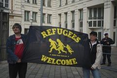 Międzynarodowy uchodźcy europejczyka parasol Marzec Obraz Royalty Free