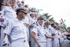 19 11 2017 Międzynarodowych Morskich, międzynarodowych 50 s flota przeglądu asean ` 2017 rocznicowa parada w Pattaya, Tajlandia Zdjęcie Royalty Free