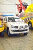 Międzynarodowych Powystawowych logistyk Moskwa holowniczej ciężarówki Samochodowy biały kolor Fotografia Royalty Free