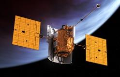 Międzyplanetarnej staci kosmicznej Na orbicie planeta ilustracja wektor