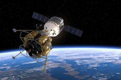 Międzyplanetarnej staci kosmicznej Na orbicie ziemia ilustracja wektor