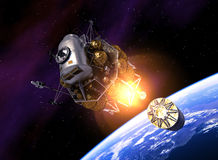 Międzyplanetarny staci kosmicznej wodowanie W przestrzeń royalty ilustracja