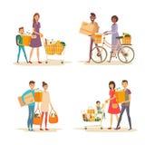 Międzyrasowa szczęśliwa rodzina z tramwajem i sklepem spożywczym ilustracji