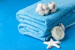 Miękcy błękitni ręczniki Obraz Royalty Free